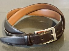 Brooks Brothers Made in Italy Smooth Polished Espresso Brown Silver Bkl Belt 42