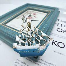 Retro Blue Metal Brooches Women Enamel Brooch Pins Alloy Boat Sailboat Gifts