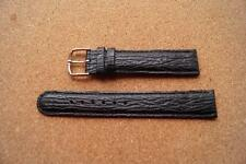 18MM BLACK LEATHER WATCH STRAP WITH STAINLESS STEEL SILVER BUCKLE