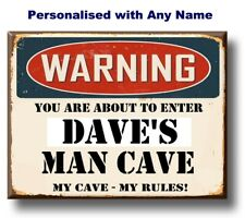 Personalised Man Cave Plaque Sign Vintage retro style door wall shed garage gift