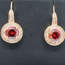 Gorgeous Round Red Ruby Earrings Women Wedding Jewelry Gift Rose Gold Plated