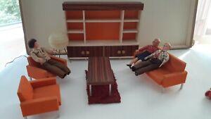 German DDR Bodo Hennig 70s dollhouse living mid century room couch set