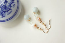 HANDMADE Women Jewelry Earrings Green Jade Pearl Seashell dangle drop FREE GIFT