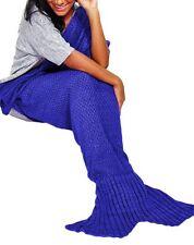Adults Knitted Mens Blanket Unisex Tail Crochet Womens Mermaid Blue Adults - 180cm X 80cm