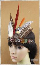 Indian Crystal Crown Feather Headband Headdress Carnival Headpiece Headgear