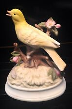 PORCELAIN CANARY YELLOW BIRD  MUSIC BOX FIGURINE - PLAYS SOMEWHERE MY LOVE