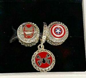 New Pandora Marvel Avengers Iron Man, Spider-Man, and Captain America