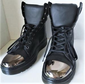 Dr Martens KAYLA Retro Hi Top Metallic Toe Cap Blk Leather Sneaker Boots US 10