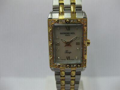 Ladies Raymond Weil Watch Steel Case Bracelet Pearl Dial Diamond Set 5971