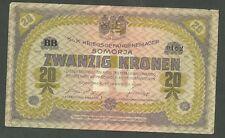 Currency Paper Money Note Austria / Somorja Prisoner War Note 1562 Twenty Kroken