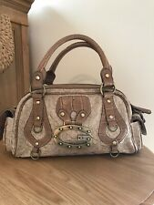 Guess Bag, Light Brown Fabric & Leather,