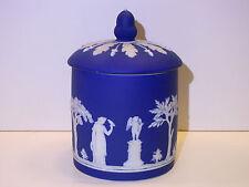Wedgwood Dark Blue Dip Jasper Ware Biscuit Jar c.1900