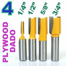 4pc 1/2 SH Undersized Dado for Plywood 1/4, 1/2, 5/8, 3/4 Router Bit Set sct-888