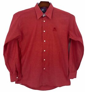 BURBERRY'S  Mens Red Check  Button-Up Long Sleeve Shirt USA Size Small
