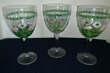 "(Set of 3) Portmeiron Botanic Garden 8"" Tall Hand Painted Crystal GOBLETS"
