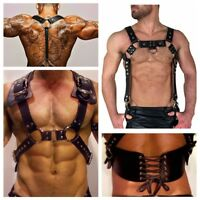 Men's Lingerie Costume PU Leather Body Chest Harness Straps Belt Night Clubwear