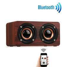Wooden Wireless Bluetooth Speaker Portable 3D Audio Kit Retro Speaker  Brown