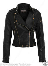 Size 8 10 12 NEW Womens BIKER JACKET Crop FAUX LEATHER Ladies ZIP Coat PVC