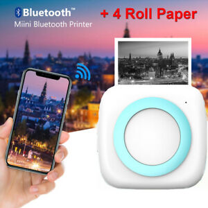 Mini Pocket Thermal Printer Photo Printer Bluetooth Portable With 4 Rolls Paper