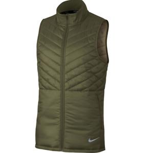 Nike Running Jacket Mens Small Green AeroLayer Vest Lightweight Wind Water Repel