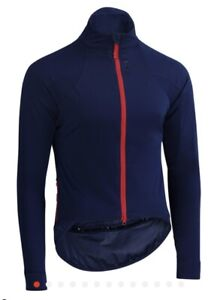 Rivelo Men's Thornecomb Softshell Cycling Jacket Navy/Red Size Large/Medium.