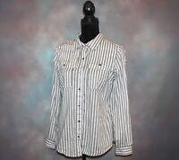 Cato Women's Snap Button Shirt Size Medium Gray & White Striped Long Sleeve Top