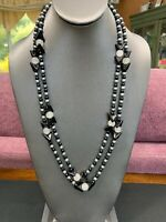 Vintage Black Grey Pearl Strand Necklace Amazing Glass Beaded WOW 52 Inches