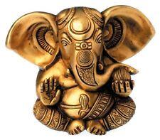 Ganesha, Statue, Figur, 13cm hoch, 1.7kg, Goldfarben, Messing