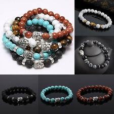 Handmade Men Women Lava Rock Bracelet Natural Stone Beads Buddha Head Beaded