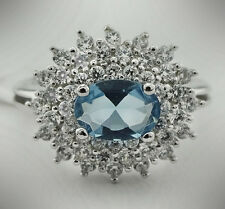 GENUINE 1.14 Cts AQUAMARINE & WHITE SAPPHIRE RING .925 SILVER *New with tag