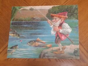 Rare 1930's Piccadilly Jig Puzzle RAINBOW FISHING Troll Gnome COMPLETE