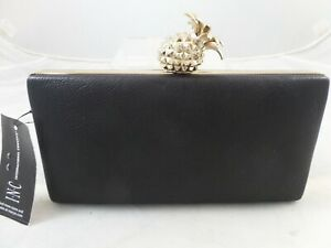 INC International Concepts Hard Case Black Evening Bag with Pineapple Leathe NWT
