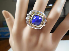 Tiffany & Co Blue Lapis Ring 18K 750 Yellow Gold & Sterling Silver Sizable 6.5