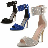 Womens Ladies Dolcis Diamante Ankle Strap Peep Toe High Heel Sandals Shoes Size