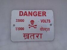 Old Original 33000 Volt Danger Enamel Sign Board Electricity Danger Enamel Sign