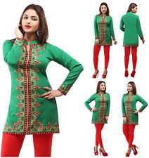 UK STOCK- Women Casual Indian Short Kurti Tunic Kurta Top Shirt Dress Green 164D