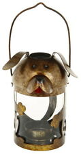 Mignon Chien Métal Lanterne Bronze Effet 14cm X 8xm
