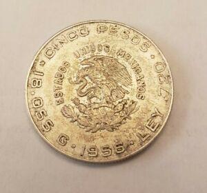 1955 Mexico Cinco 5 Pesos Hidalgo Silver Coin