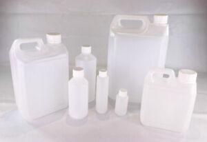 Plastic Bottles HDPE +Lid 50ml 100ml 250ml 500ml 1 Litre , 2.5 Litre & 5 Litre