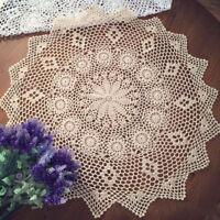 Vintage Cotton Handmade Crochet Lace Doily Doilies Round Table Cloth Mat 70-75cm