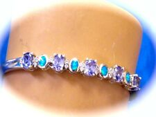 STUNNING MINED  2.50 CARATS TANZANITE W OPAL & CZ HINGED BANGLE BRACELET