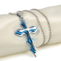 Men's Boy's Blue Silver Stainless Steel Cross Pendant Necklace Chain