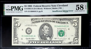 $5 FEDERAL RESERVE NOTE- INSUFFICIENT INKING SECOND PRINT ERROR-PMG#58EPQ CH AU