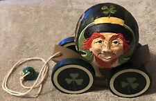 1993 Briere Folk Art Pull Toy Leprechaun 4 Leaf Clover Ball & Cart / Cradle #115