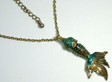 Vintage Chinese Asian Articulated Enamel Koi Fish Pendant Moving Part Necklace