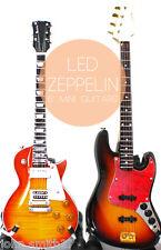 "Miniature Guitar Led Zeppelin Jimmy Page and John Paul Jones Bass Super Mini 6"""
