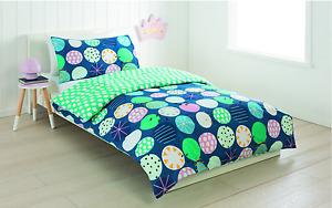 Metallic Print Reversible 3 Piece Quilt / Doona Covet Set - Double Bed