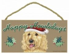"LABRADOODLE-BLOND--Happy Howlidays--Dog Decorative Wood Plaque/Sign 5"" x 10"""