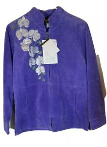Bob Mackie Suede Jacket Wearable Art Purple Embroidered Womens Sz S NWT