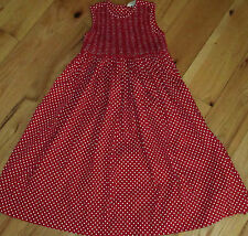 Copper Key red white polka dot smocked long dress with sash 6 girls'